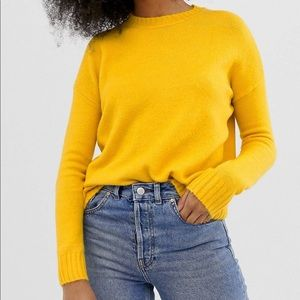 Warehouse Crew neck sweater in yellow 🌞
